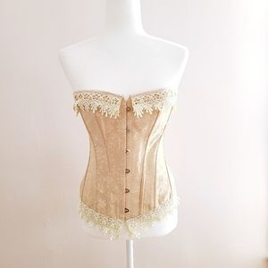 Other - Romantic Tapestry Lace Under Bust Boned Tan Corset